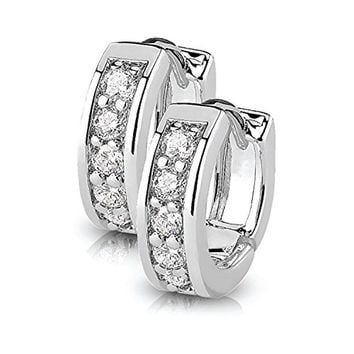 BodyJ4You Small Earrings Hoops Huggie Half Circle Pave CZ Crystal Clear Stainless Steel 12mm Hoop
