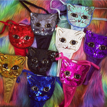 90's Deadstock Vintage Sparkle Kitty Sequin Thongs S - M