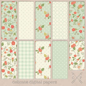 Shabby chic hand drawn flowers digital paper pack. handdrawn flower patterns and polakdots plaid quatrefoil for scrapbooking backgrounds etc