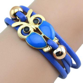 Infinity Owl Friendship Multilayer Charm Leather Bracelets Gift BU