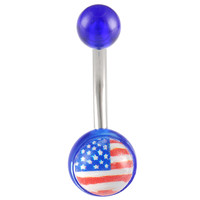 US Flag Logo Ball End Belly Button Ring For Girls [Gauge: 14G - 1.6mm / Length: 10mm] 316L Surgical Steel & Acrylic