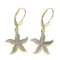 14K YELLOW GOLD WHITE GOLD DIAMOND CUT HAWAIIAN STARFISH LEVERBACK EARRINGS 15MM
