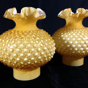 Rare Vintage Fenton Art Glass Honey Amber Overlay Hobnail Hurricane Lamp Shades Ruffled Edges Set of 2 Mid Century Lamp Shades Honeysuckle