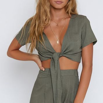 Ava Tie Up Crop Khaki
