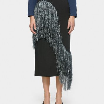 Fringe Skirt in Black / Blue