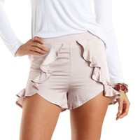 Blush Satin High-Waisted Ruffle Shorts by Charlotte Russe