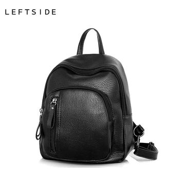 Womens Small Black Backpack PU Leather