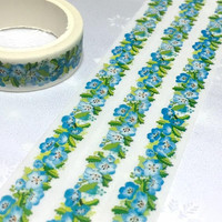 blue flower trim Washi tape 7M x1.5cm bright flowers spring flower pretty wild flower Vibrant flower Masking tape blue flower sticker decor