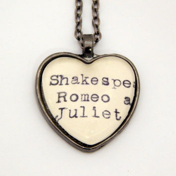 Romeo and Juliet necklace, Shakespeare necklace, Shakespeare fan gift, library card catalog jewelry, actress gift, heart necklace