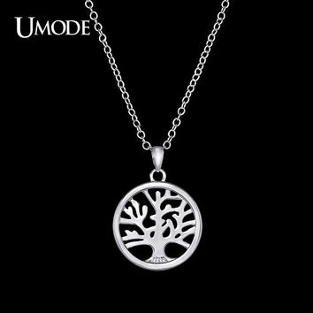 UMODE Handmade Personalized White Gold Color Tree of Life Carved Medallion Pendant Necklace UN0102B