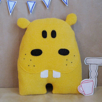 Yellow Hippo Stuffed Animal by LittleAmaryllis on Etsy