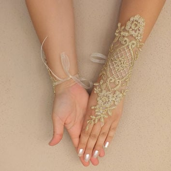 Wedding Gloves, lace gloves,Fingerless Gloves, gold-framed, off cuffs, cuff wedding bride, bridal gloves, gold border,free shıp