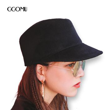 GGOMU Brand Wool Black hat Women Retro fedora hat Autumn Winter Men Casual cap Fashion casquette ZLH-225