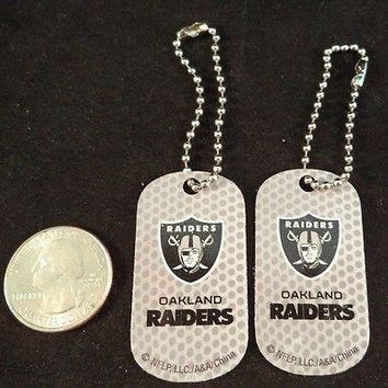 2 NFL Oakland Raiders Logo Dog Tags Key chains backpacks party Gift