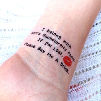 10 Bachelorette Party Sorority Party Temporary Tattoo - i'm Lost, Please Buy Me A Drink