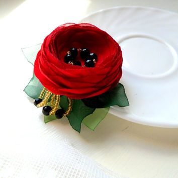 Jewelry, Brooch , Accessories , Red and black wedding , Small  red flower , Brooch flower , Clip for hair , Wedding , Red and black