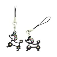 Black Poodle Cellphone Charm Strap Multi Colored Embedded Gems