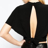 ASOS High Neck Kimono Sleeve Crop Top With Open Back