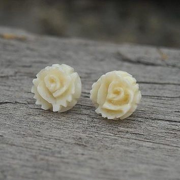 Rose Earrings Cream Rose Earrings 14k Gold by InkandRoses13