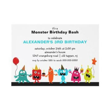 CUTE Little Monster Bash Birthday Party Custom Invitation from Zazzle.com