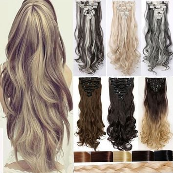 30Colors 8pcs Full Head Clip in Hair Extensions Long Straight Curly Wavy Hair piece Black Brown Blonde