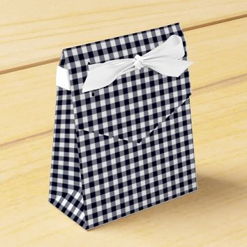 Gingham-Midnight Blue-Favor Box, Tent Favor Box