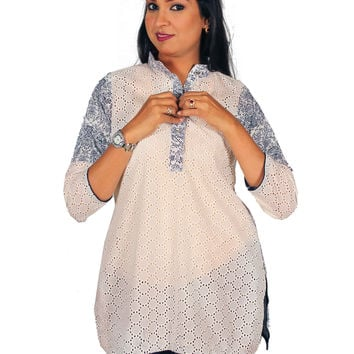 Women's White Eyelet & Blue Motif Cotton Tunic