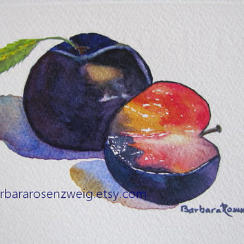 Fruit Painting,Original Fruit Watercolor Painting,Plum Fruit Art,Wall Art,Kitchen Home Decor,Art Gift,Plum Fruit Painting,Barbara Rosenzweig