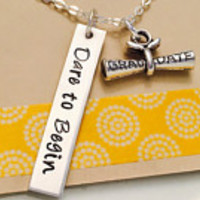 Graduation Necklace- Class of 2016 Necklace Hand Stamped Dare to Begin Necklace -Good Luck Necklace Inspirational Jewelry