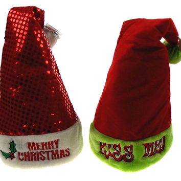 Lot of 2 Santa Hats Adult Merry Christmas Kiss Me Sequins Holiday Office Party