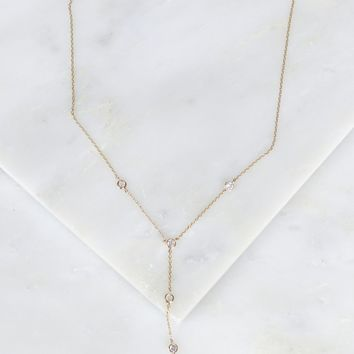 Crystal Stone Drop Necklace Gold