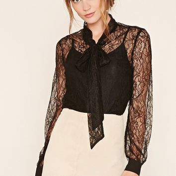 Contemporary Sheer Tie-Neck Top