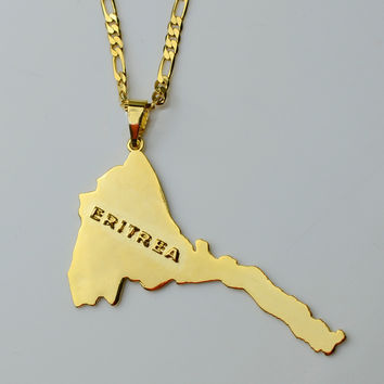 Eritrea Map Pendants & Necklaces Chain Women Men Map of Eritrea Gold Plated Jewelry Africa Necklace Ethiopia #004101