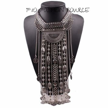 Ethnic Design Bold Statement Necklace. Length and Chain Detail Make This a Must Have!