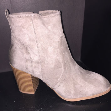 Taupe Oil Finish Suede Bootie