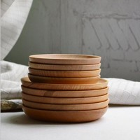 Japanese wood plate round shape home supplies kitchen tool wood dishes dinnerware table tools circle round plates wedding tray
