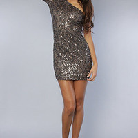 The One Shoulder Sequin Dress in Dark Grey