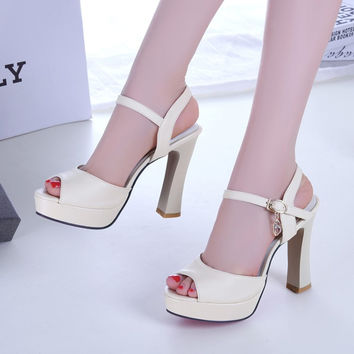 2017 The New Fashion Summer Sexy Heels Thick with Waterproof Sandals for Women's Shoes Women's Sandals Size Code 31-43