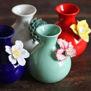 Creative Colorful Chinese Three - dimensional Flowers Vase Ornaments Plant Pot Craft Home Decor