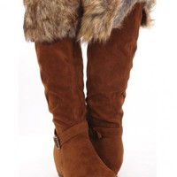 Cognac Faux Suede And Faux Fur Boots @ Amiclubwear Boots Catalog:women's winter boots,leather thigh high boots,black platform knee high boots,over the knee boots,Go Go boots,cowgirl boots,gladiator boots,womens dress boots,skirt boots,pink boots,fashion b