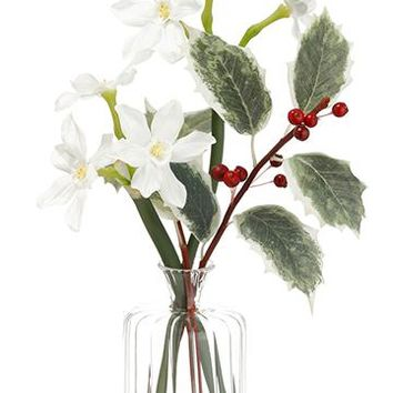 "Silk Pre-Made Paperwhite Narcissus Flower Arrangement in Glass Vase with Green Holly - 11.5"" Tall"