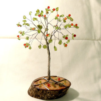 Wire Tree,Peridot wire sculpture, tree,Wire tree of life,wire tree sculpture,Gem Tree