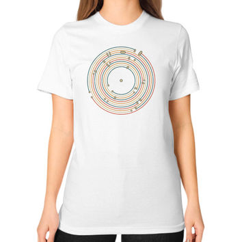 Vinyl music metro record map labyrinth Unisex T-Shirt (on woman)