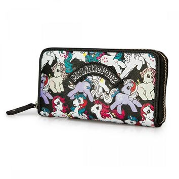 My Little Pony Black Retro Ponies Zip Around Wallet by Loungefly