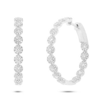 1.58ct 14k White Gold Diamond Hoop Earring
