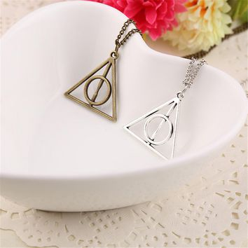 Vintage Harry Potter Necklace Rotate Deathly Hallows Pendant Friendship Valentine Gift Best Friend Necklace Jewelry Accessories