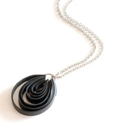 Bicycle inner tube loop pendant , recycled black rubber jewelry , black drop pendant , bike tire jewelry , eco friendly necklace