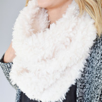 Faux Shearling Knit Scarf