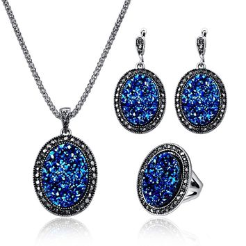 Antique Silver Vintage Crystal Resin Stone Oval Pendant Necklace Earring Ring Jewelry Sets