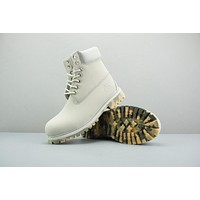 Timberland Leather Lace-Up Boot High White Camo Sole